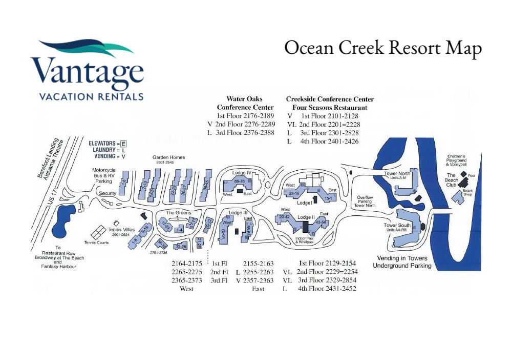 Map of Ocean Creek Resort