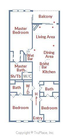Belmont Towers 602 - Floor Plan Layout