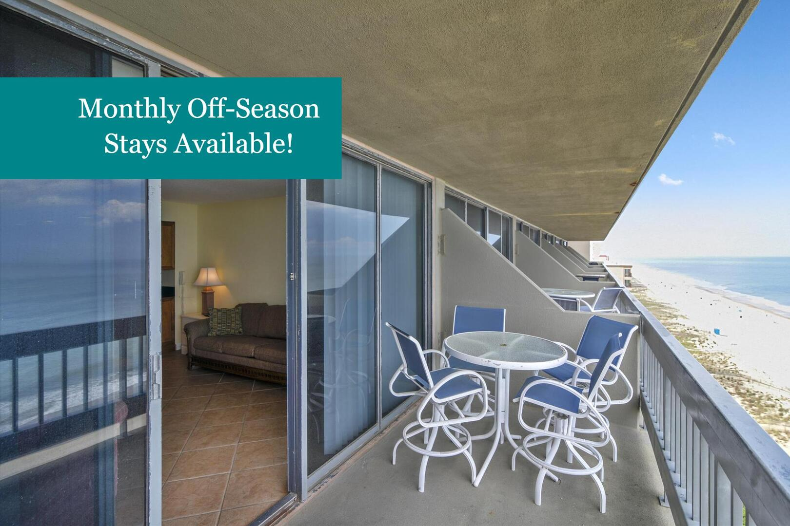Monthly Off-Season Rentals Available